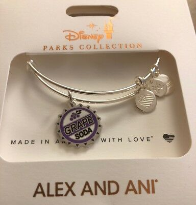 Disney Parks Alex And Ani Up! Grape Soda Bottle Cap Silver Bracelet