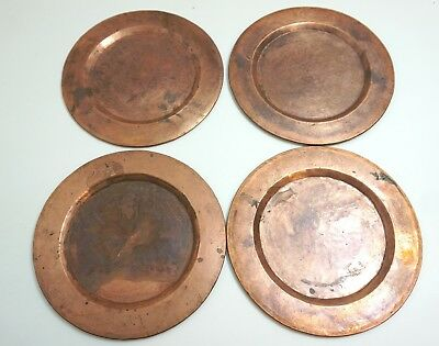 """Lot Of 4 Antique / Vintage Heavy Hammered Solid Copper 12"""" Arts And Crafts Plate"""