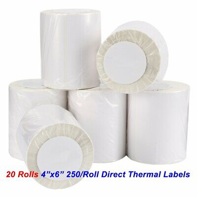 20 Rolls Direct Thermal Shipping Labels 250/Roll 4x6 For Zebra 2844 ZP450 Eltron