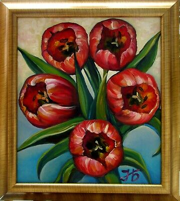 """Red Tulips 16X14""""Hand Painted Spring Flowers Blossom Floral Framed Nadia Bykova"""