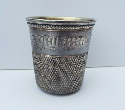 """Vintage 1890`s Simons Brothers,""""ONLY A THIMBLE FULL"""" Sterling Silver Shot Cup"""