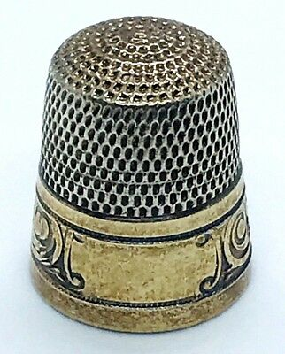 Antique Simons Brothers  Size 7 Sterling & Gold Banded Thimble