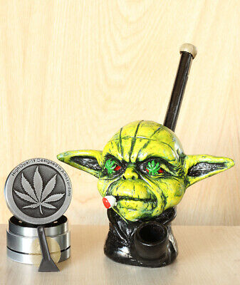 "Yoda 5"" Hand Crafted Figurine Smoking Pipe Tobacco Pot 3p herb grinder"
