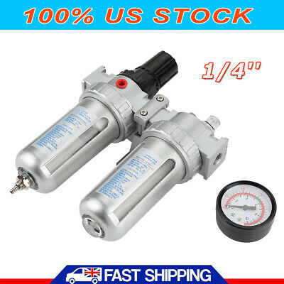 "1/4"" BSP Air Compressor Moisture Trap Oil Water Filter Regulator Lubricator USA"