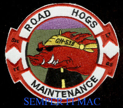 Hmh Road Hogs Maintenance Patch Us Marines Mcas Uss Ch53E Mag Maw Pin Up Veteran