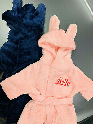 Personalised Soft Baby Dressing Gown In Pink