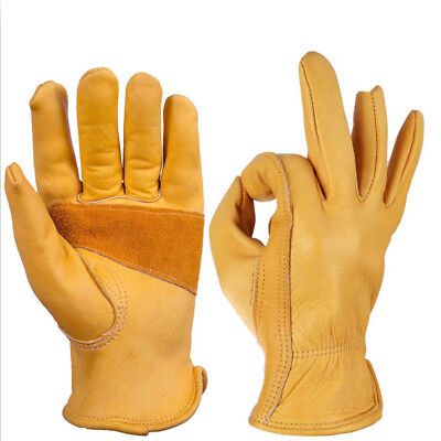 Gardening Gloves Five Fingers Stretchable Cycling Retro Leather Working Outdoor