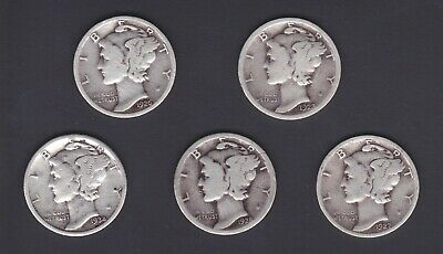 90% SILVER / Lot of 5 Specific MERCURY DIMES / Good Condition / 1920's - 30's