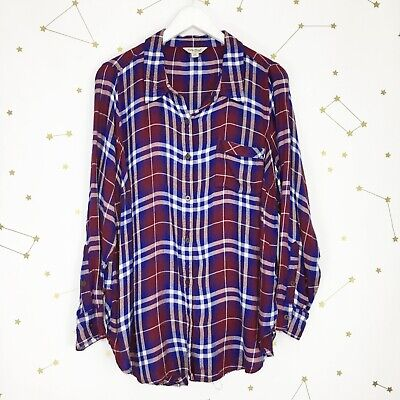 07931f7cb640a Lucky Brand Plaid Shirt Plus Size 1X Maroon Red Flannel Bungalow Button  Down Top