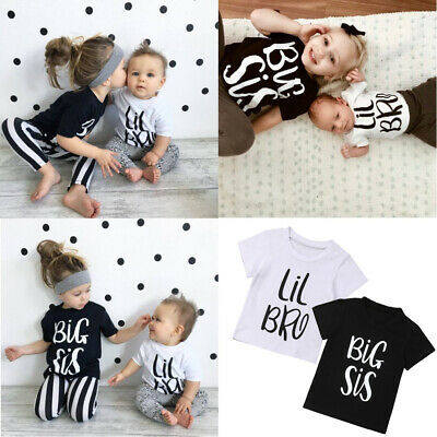 Big Sister/Little Brother Matching Tops Baby Boy Girl Cotton T-shirt Outfits