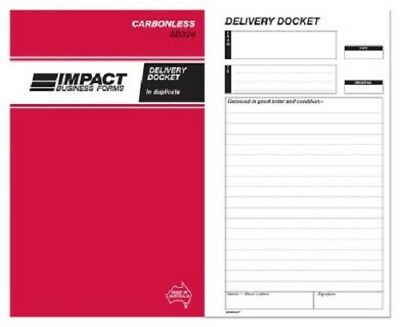 4  x    Impact Delivery Docket Book Carbonless 203mm x 127mm Triplicate SB324A