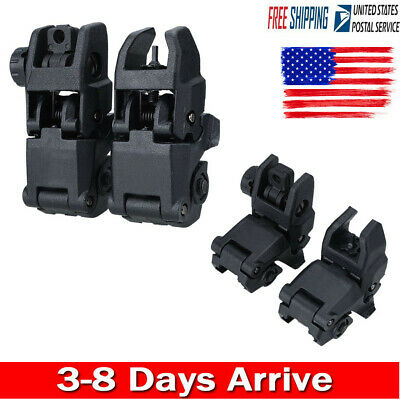 2PcsTactical Folding AR Front Rear Flip Up Backup Sights BUIS EDAL MBUS 223 5.56