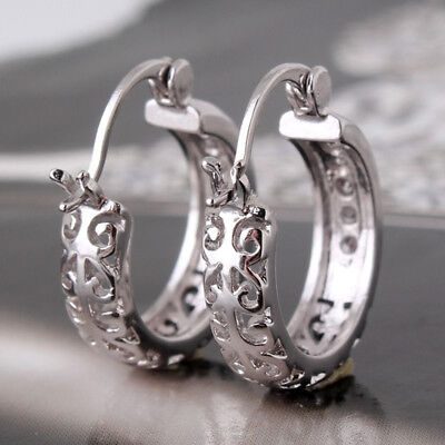 New Women Fashion Jewelry Gold Plated Filled Sapphire Crystal Huggie Earrings L