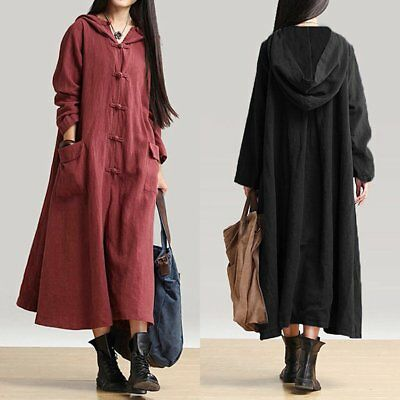 Fashion Womens Long Maxi Dress Loose Casual Hooded Sweatshirts Cotton Dresses