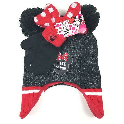 361aa7d6f95 Disney Minnie Mouse Earflap Beanie Hat Gloves Set One Size Girls Red Black
