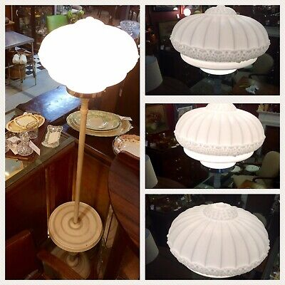 1930's Art Deco Milk Glass Standard White Bakelite Floor Lamp & Side Table