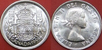 Brilliant Uncirculated 1955 Canada Silver 50 Cents From Mint's Roll