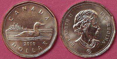 Brilliant Uncirculated 2010 Canada 1 Dollar From Mint's Roll