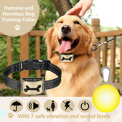 Dog Anti Bark Collar Rechargeable Pet Training Sound Vibration Strap w/LED Tag