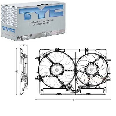 TYC Dual Radiator and Condenser Fan Assembly for 2013-2016 Ford Escape 1.6L pf