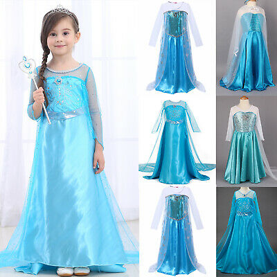 Girls Costume Princess Elsa Cosplay Kids Children Sequin Party Fancy Dress
