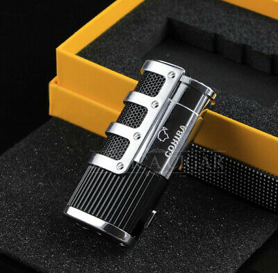 COHIBA Black Gridding Stripes 3 Jet Flame Cigarette Cigar Lighter W/Punch