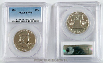 1963 50c SILVER PROOF FRANKLIN HALF DOLLAR - PCGS GRADED PR66
