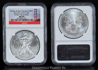 2012(S) Silver Eagle Struck At San Francisco Mint Ngc Early Releases Ms69