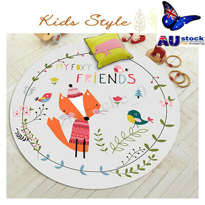 Anti-slip 60~100cm Round Soft Carpet Bedroom Mat Cartoon Area Floor Rug Game AU