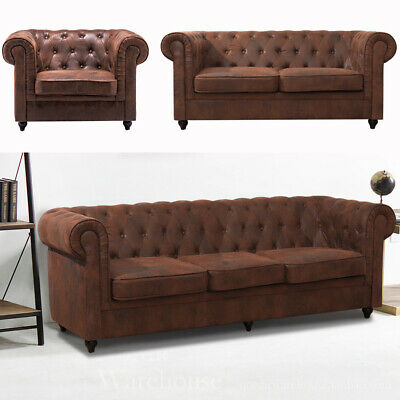 Vintage Distressed Leather 1 2 3 Seater Tub Armchair Settee Sofa Couch Furniture