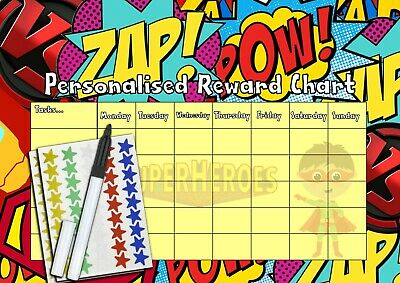 Personalised Children's Sticker Reusable Behaviour Reward Chart - Super Heros