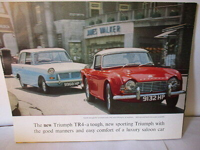 dépliant d'époque spécification TRIUMPH TR4 - Brief specifications, original