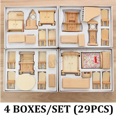 29 Pcs 1:24 Dollhouse Miniature Set Unpainted Wooden Furniture Suite Scale Model