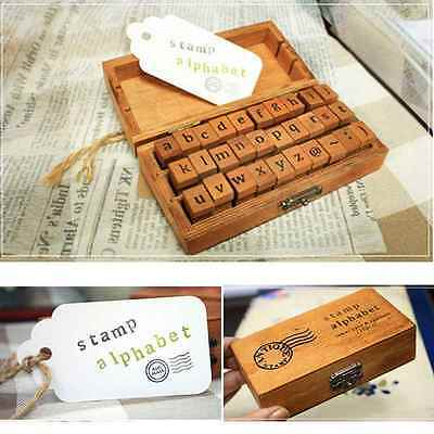 Vintage 30 Pcs/Set Wooden Box Alphabet Letter Number Rubber Stamp Craft Set