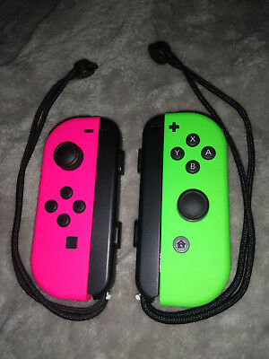 Nintendo Switch JoyCon Controllers Neon Green R and Pink L Splatoon Edition