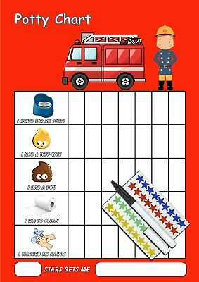 Fireman Potty Toilet Training Reward Chart With Pen & Star Stickers