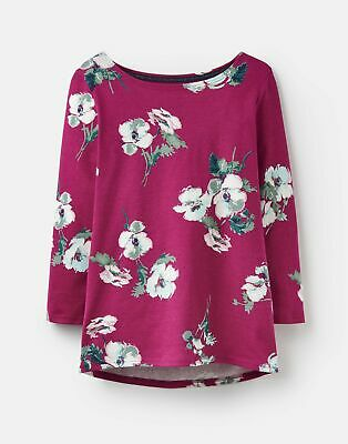 Joules Womens 203889 3 4 Length Sleeve Jersey Printed Top in RUBY PINK POPPY