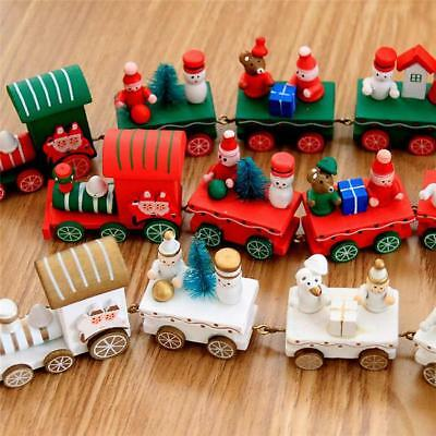 Vintage Wooden Christmas Xmas Train Ornament Party Decoration Kids Gift Toys B