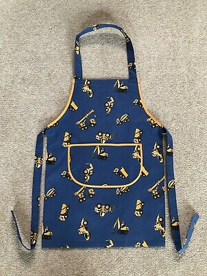 Childs Cooking Craft  Fabric Apron Toddler Preschool Size Blue Diggers
