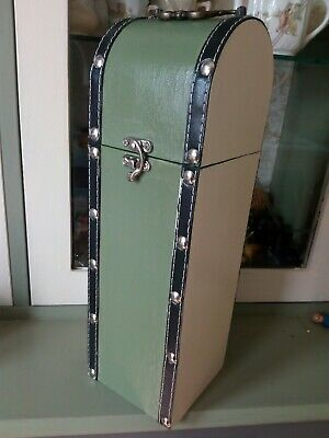 Shabby Chic Single Bottle Wine Case Carrier Handle Hinged Lid /artist Brush Case
