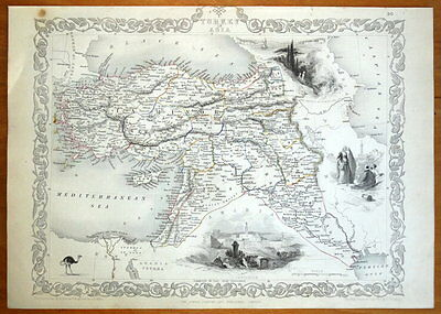 TURKEY IN ASIA, CYPRUS, MIDDLE EAST, RAPKIN & TALLIS orig. antique map c1850