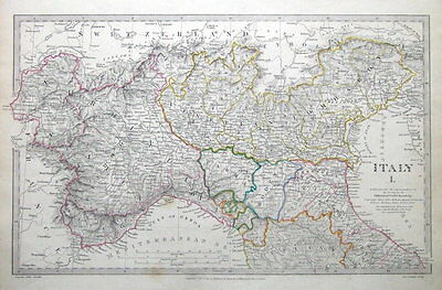 ITALY NORTH, SDUK original antique map 1832