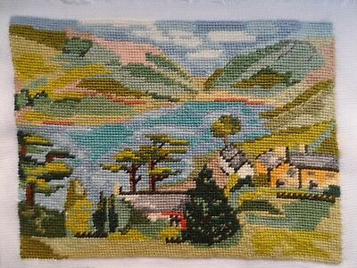 "Lovely Completed Wool Tapestry of Tal Y Lynn - stitched area approx 11"" x 8.5"""