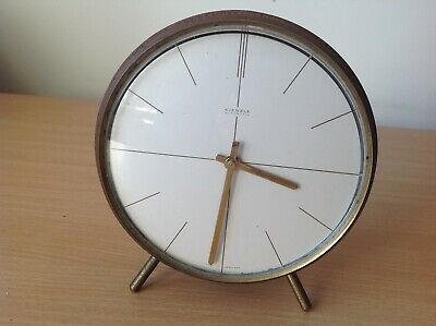 Vintage Kienzle Automatic Battery Operated Mantel Clock - Round Wooden