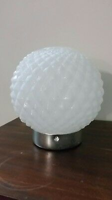 Vintage White Milk Glass Diamond Hob Nob Light Lamp Shade Fitting