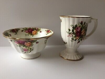 Royal Albert Old Country Roses Footed Fluted Coffee Tea Cup and Bowl