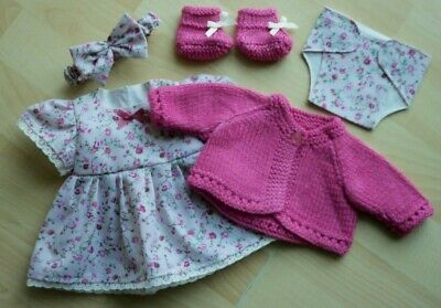 My First Baby Annabell/14 inch baby doll 5 Piece Cream & Pink Dress Set (8)
