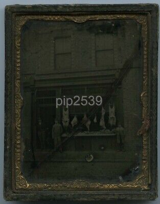 Ambrotype Of A Butcher's Shop Front c1860s - Cracked