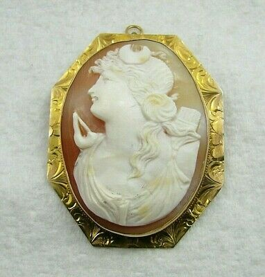 "Beautiful Antique 10k Gold Carved Cameo Shell 2"" Brooch Pin Necklace Pendant 16g"