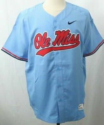 94923769dad NEW Ole Miss Rebels Rare Official Nike Dri-Fit Blue Team Baseball Jersey  Men s L